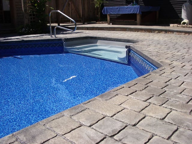 Stamped Concrete, Cobblestone and Cantilever Coping