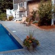 stamped concrete pool apron