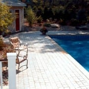 stamped concrete pool apron