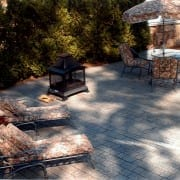 stamped concrete outdoor fireplace