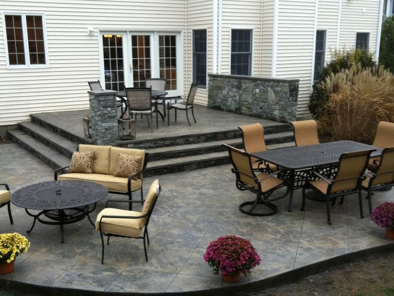 stamped concrete terrace patio with stairs12 patio