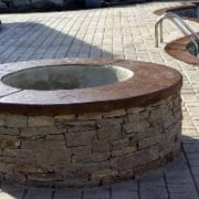 Stone Fire Pit with concrete cap