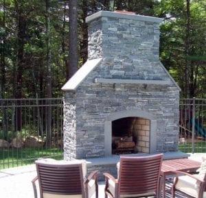 custom stone fireplace - outdoor fireplace