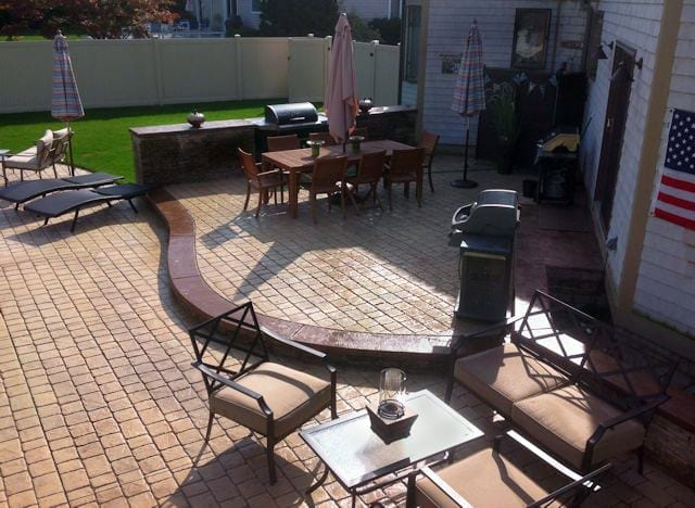 Stamped Concrete Patio, Outdoor Cooking Area, Outdoor Shower