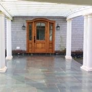 Pergola and bluestone walkway