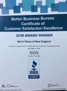 Better Business 2018 Award - masonry company in rhode island